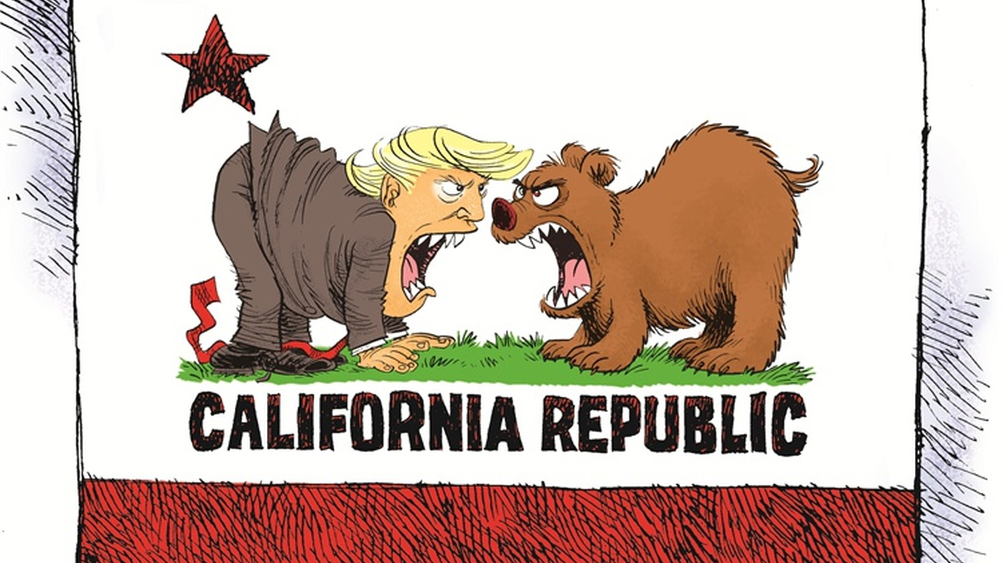 California vs. Donald Trump cartoon by Daryl Cagle for Noozhawk.