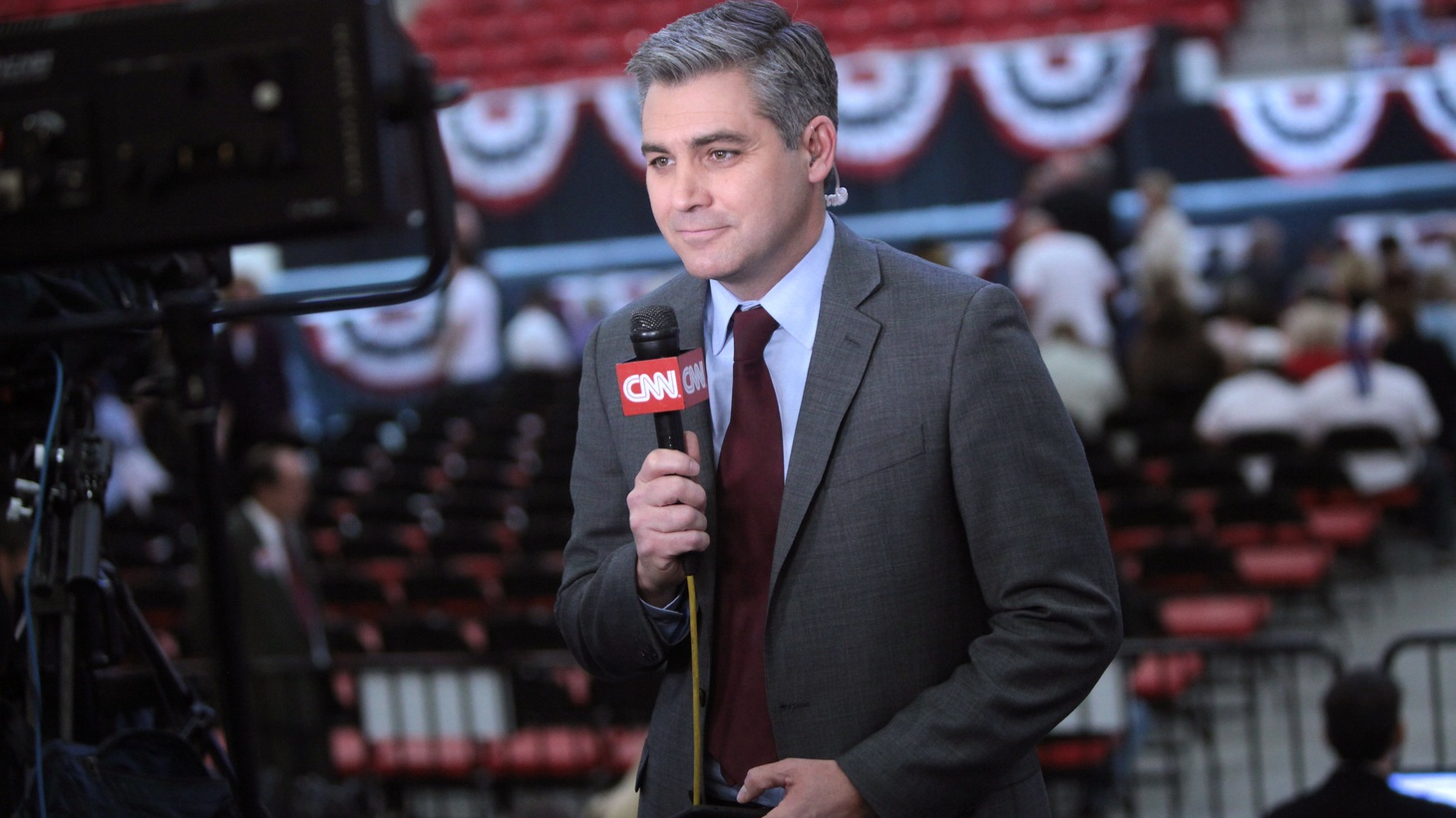 Jim Acosta speaking at a campaign rally for Donald Trump at the South Point Arena in Las Vegas, Nevada.