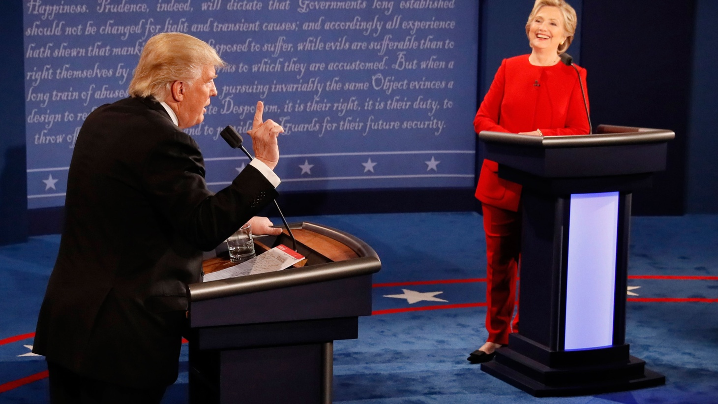 It was the first direct confrontation between the two most unpopular presidential candidates since public opinion polling began. It was mostly about personalities and stage presence -- while touching on jobs, race and gender.