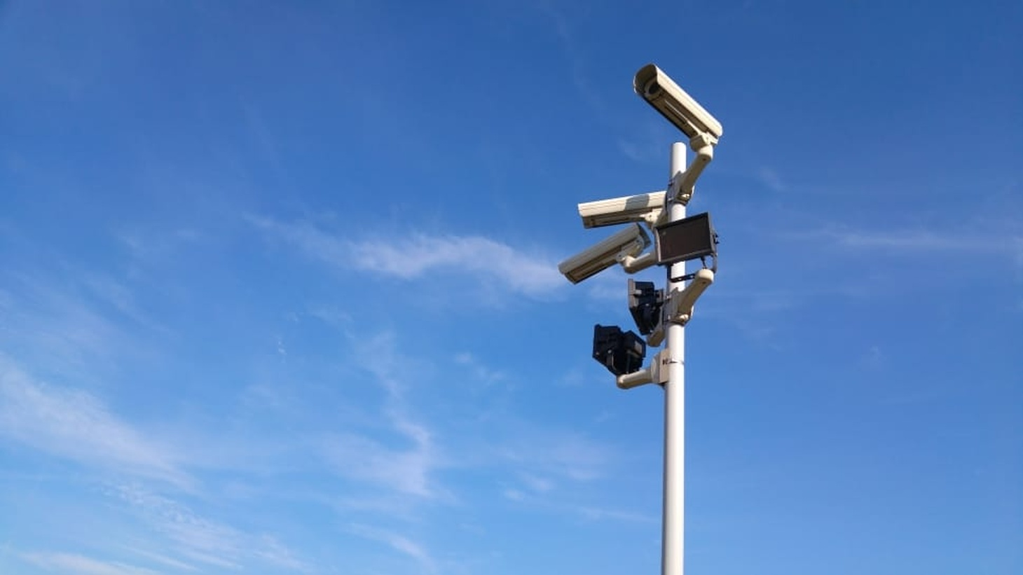 CCTV cameras on a light pole.