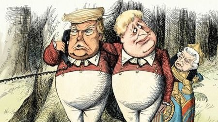 Donald Trump and Boris Johnson as Tweedledum and Tweedledee