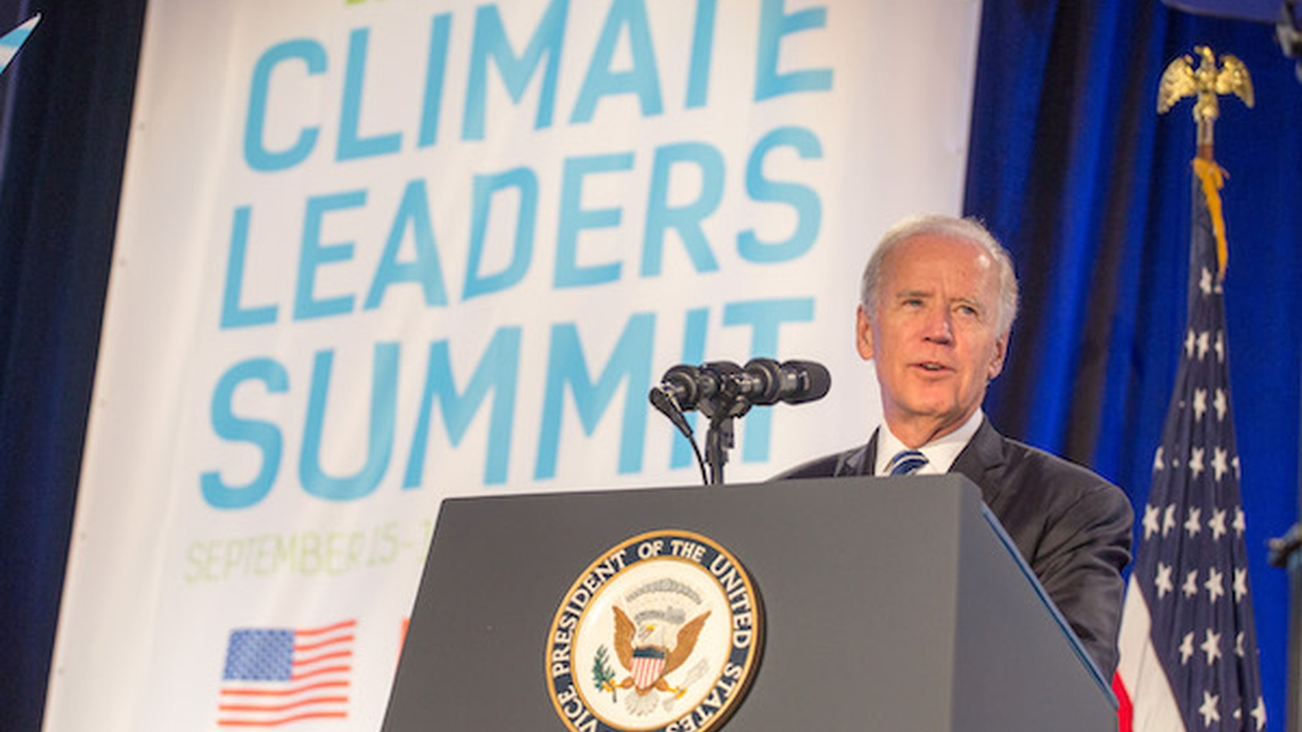 Joe Biden speaking at Climate Leaders Summit.