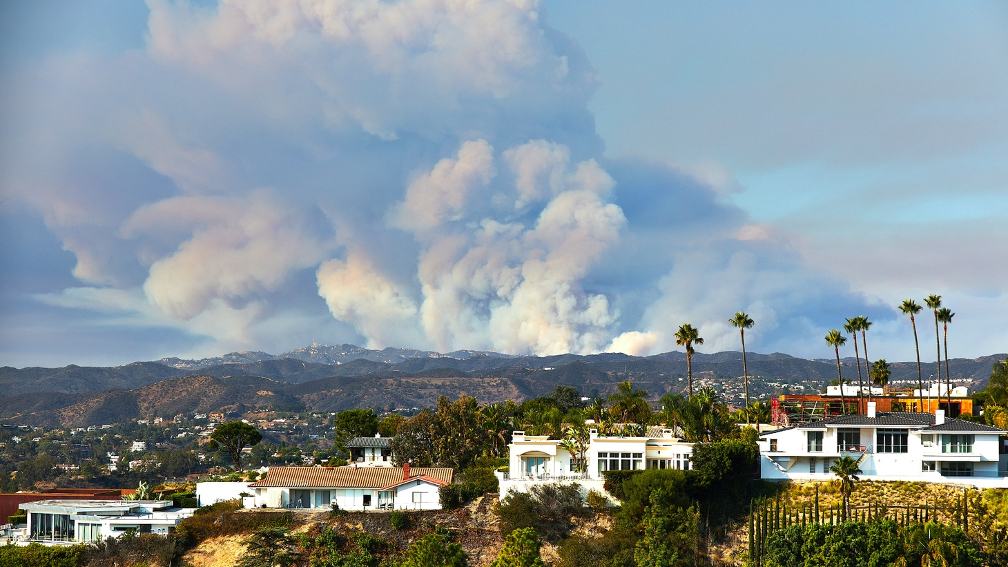 The Woolsey Fire is seen from Hollywood Hills. The fire ignited in November 2018 and burned nearly 100,000 acres of land, according to the National Park Service.