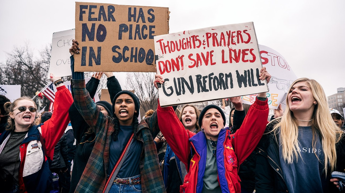 A demonstration organized by Teens For Gun Reform, an organization created by students in the Washington DC area, in the wake of the February 14 shooting at Marjory Stoneman Douglas High School in Parkland, Florida.