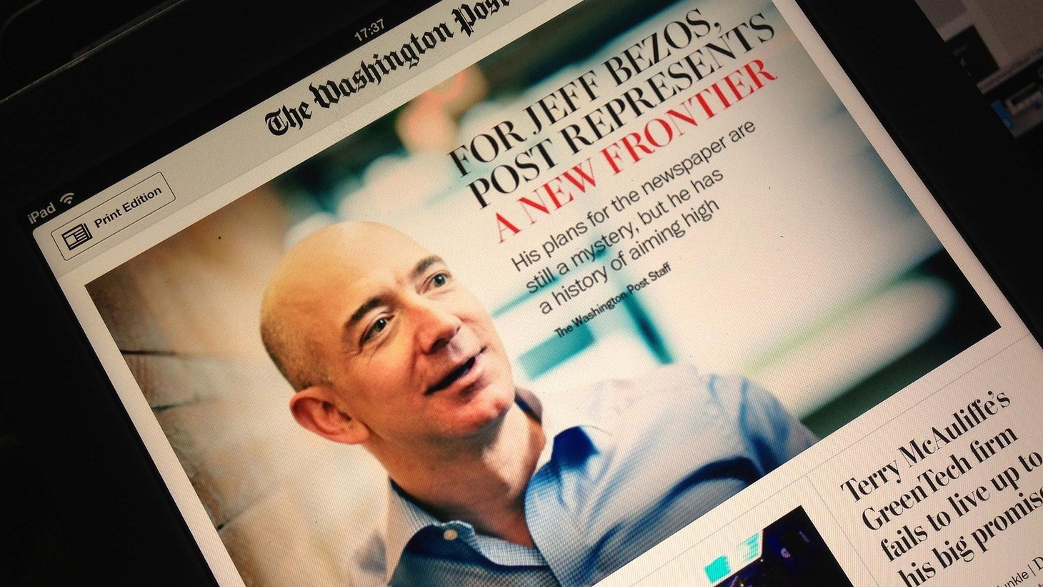 One of America's most influential papers will be owned by a pioneer in the industry that almost destroyed it. Why did Amazon founder Jeff Bezos buy the Washington Post?