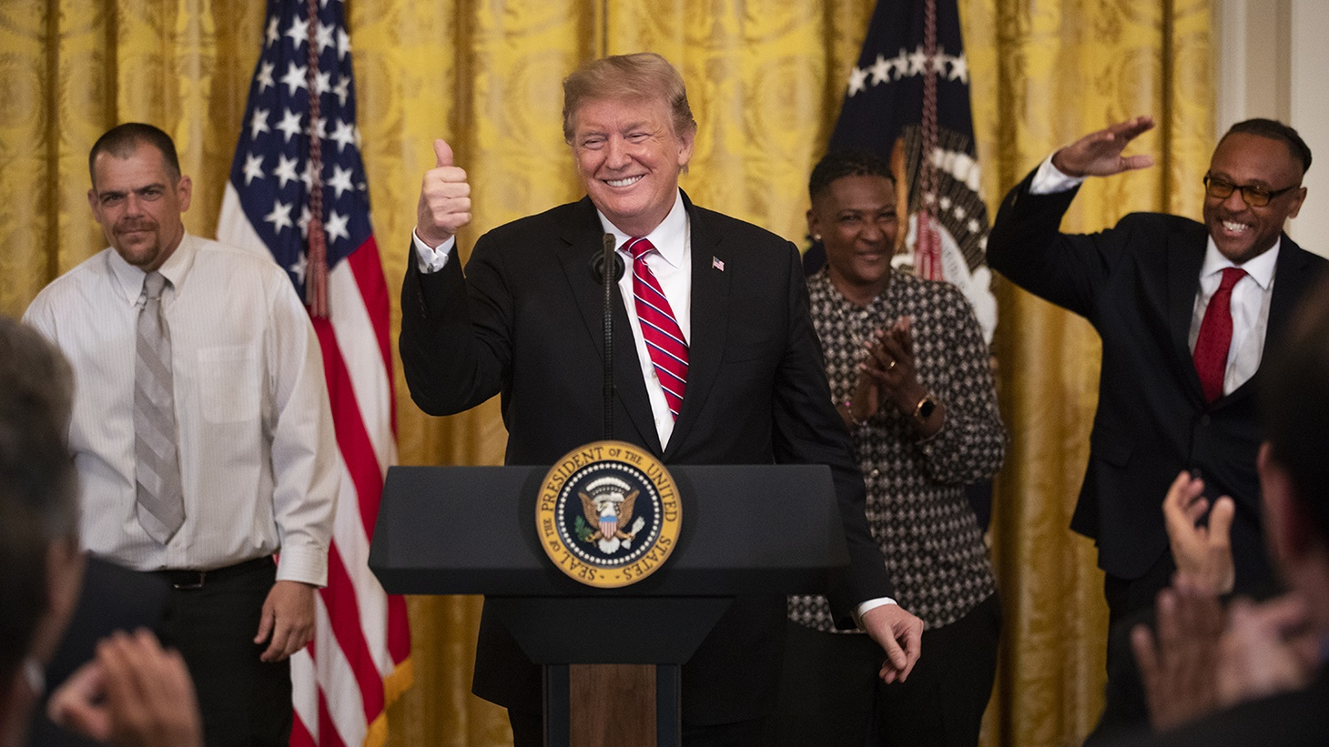 President Donald J. Trump addresses his remarks Monday, April 1, 2019, at the 2019 Prison Reform Summit and First Step Celebration in the East Room of the White House, urging employers to institute second chance hiring practices.