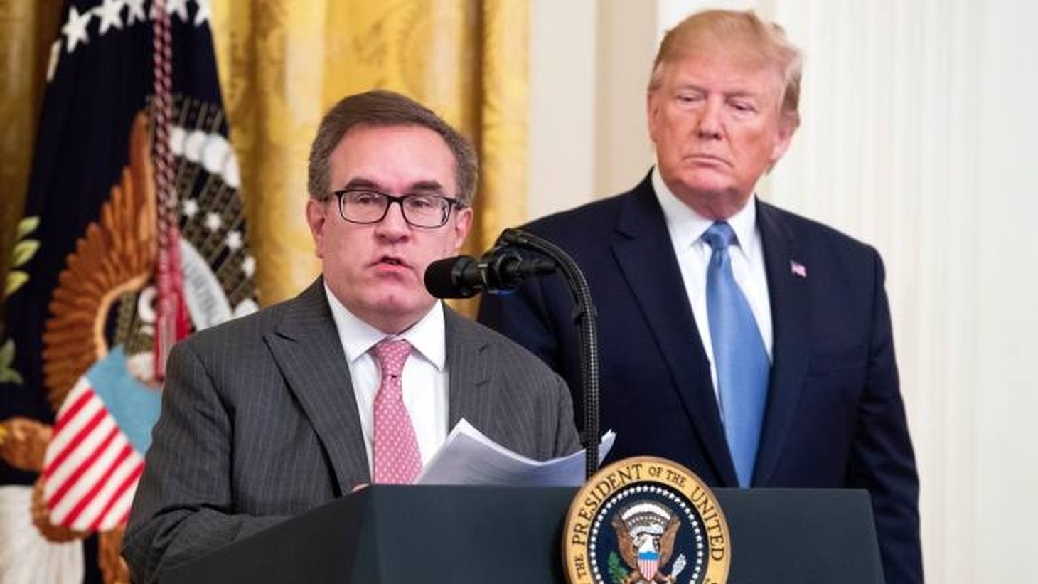 In a speech at the White House on Monday, President Trump and Alex Wheeler, head of the Environmental Protection Agency, talked of the need to focus on 'environmental challenges.'