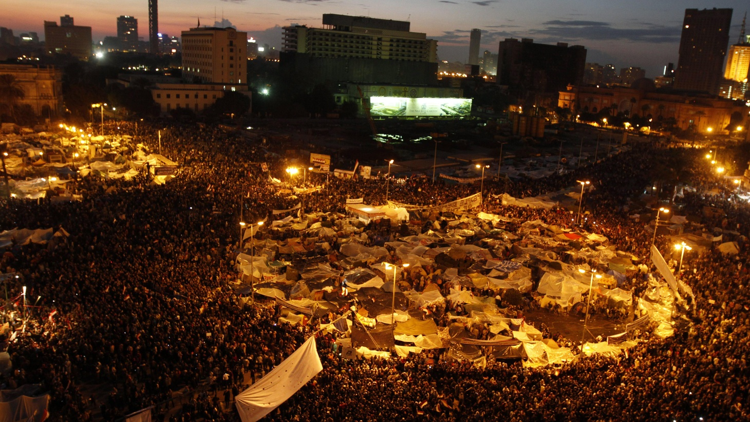 Throughout the evening, Egyptians have been massing in Tahrir Square—anticipating that 30 years of repressive government may be about to come to an end.