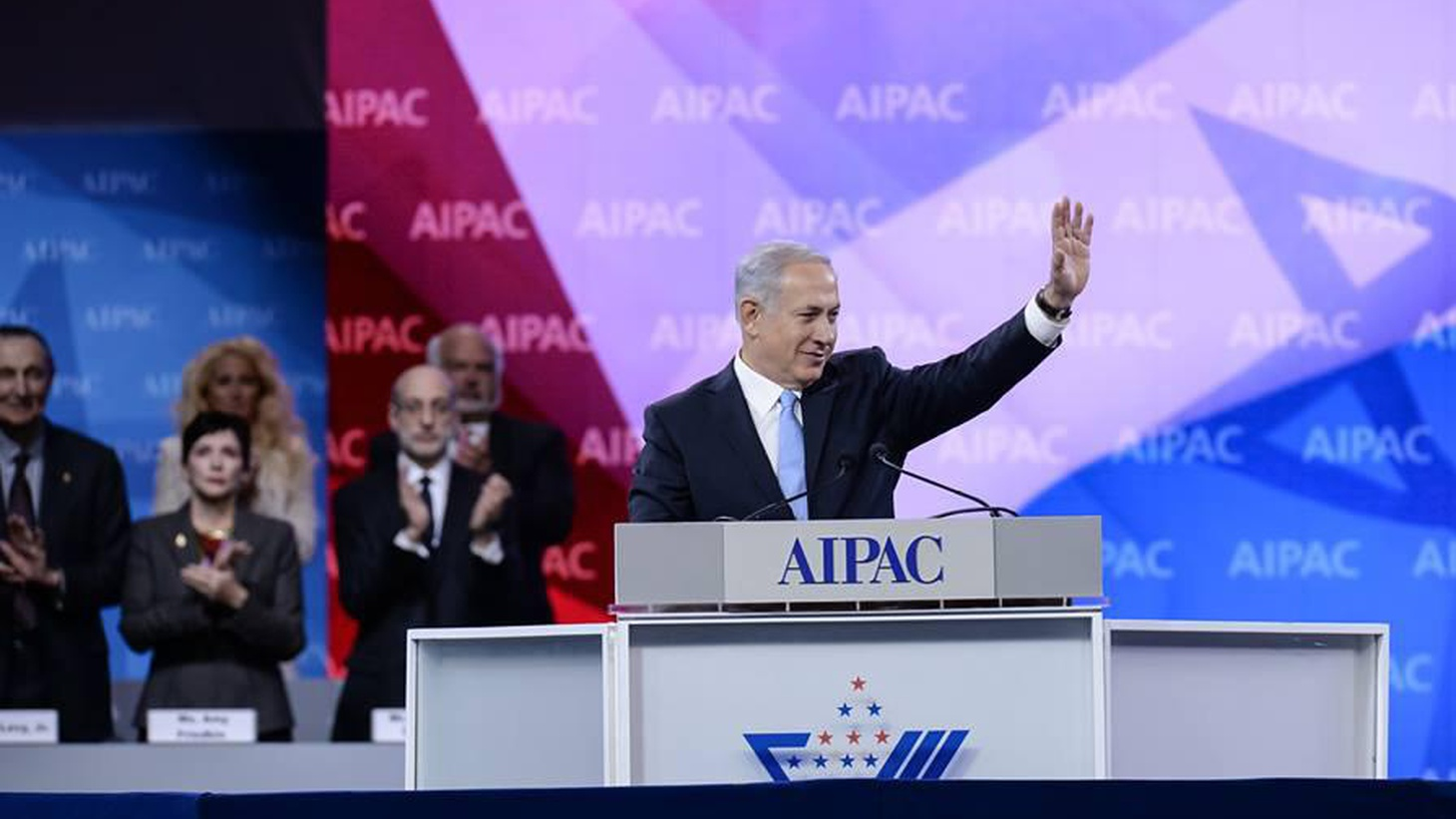 Israeli Prime Minister Netanyahu seemed to be selling peace with the Palestinians today in a speech to AIPAC, the pro-Israel lobby.