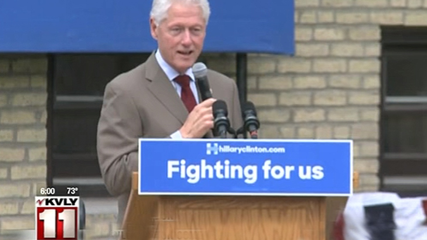 Bill Clinton is showing his age… and playing a role of a different kind on the presidential campaign trail.Last week the former President of the United States was campaigning on a farm in Fargo, North Dakota, in just one of many stops he's making in small towns on behalf of his wife, Hillary Clinton.