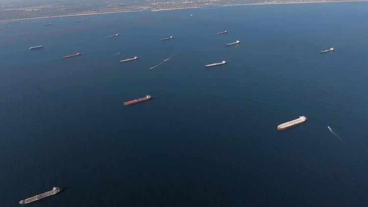 Twenty-seven massive tankers float off the Port of LA, loaded with oil that has no place to go.