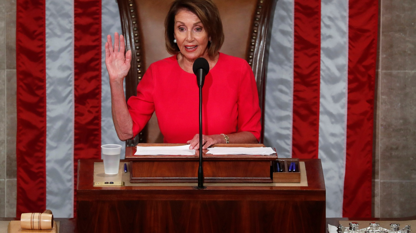 House Speaker-designate Nancy Pelosi (D-CA) is sworn in as the U.S. House of Representatives meets for the start of the 116th Congress inside the House Chamber on Capitol Hill in Washington, U.S., January 3, 2019.