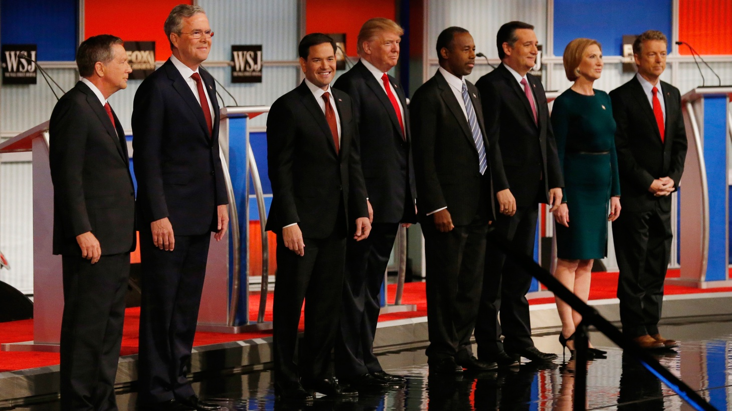 Polls show that Democrats are regaining some confidence in the economy, but Republicans are convinced it's still in big trouble. That was the message in last night's GOP presidential debate as eight candidates appealed to the base of the party.