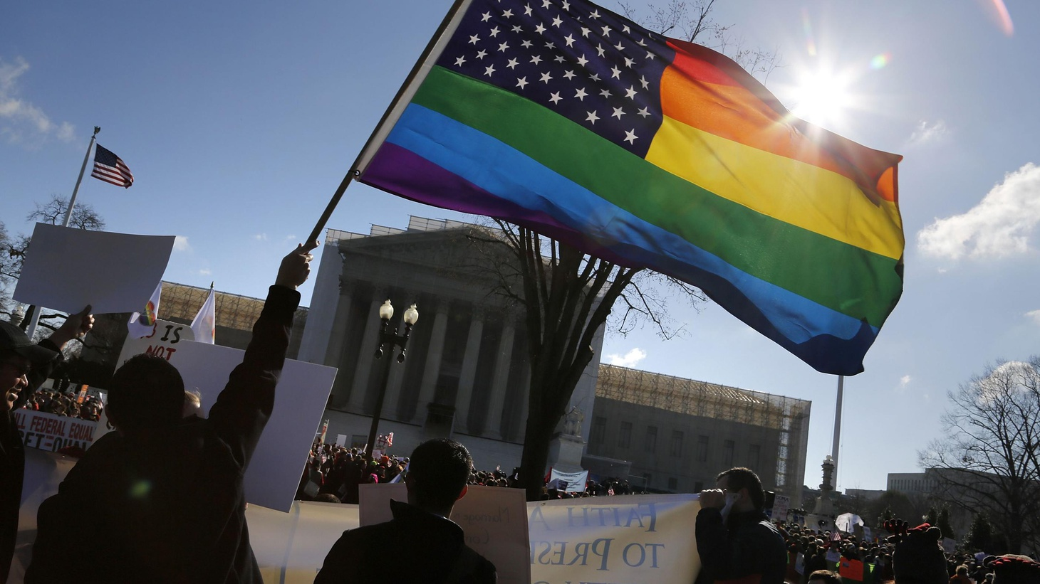 The US Supreme Court hear arguments today on same-sex marriage. Gay marriage advocates have targeted California's Proposition 8, which banned such unions 5 years ago.