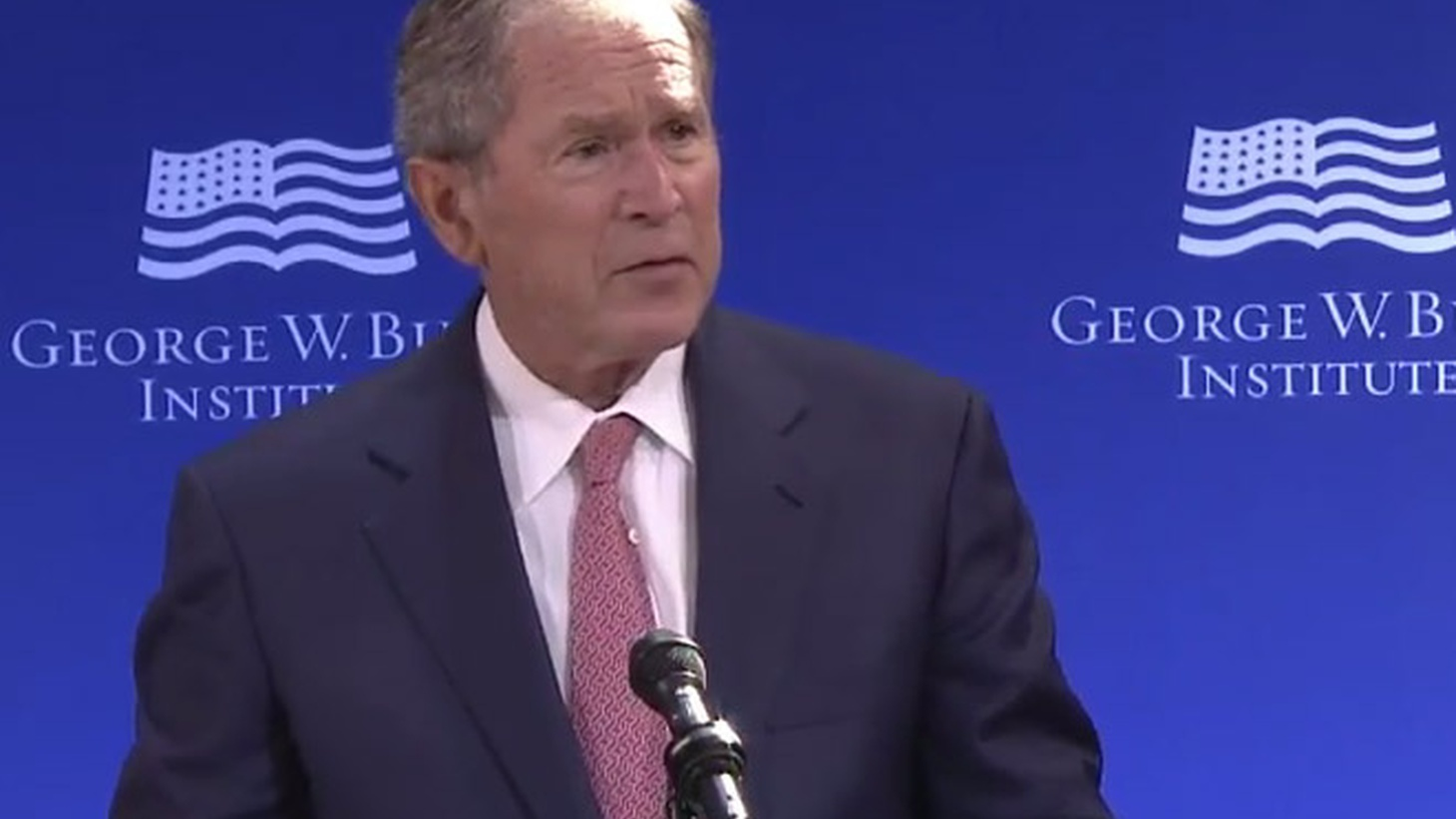 "Former President George W. Bush has hardly been heard from for 10 years. But today in New York, he delivered a  scathing speech  about the current state of American politics. ""Bigotry seems emboldened."