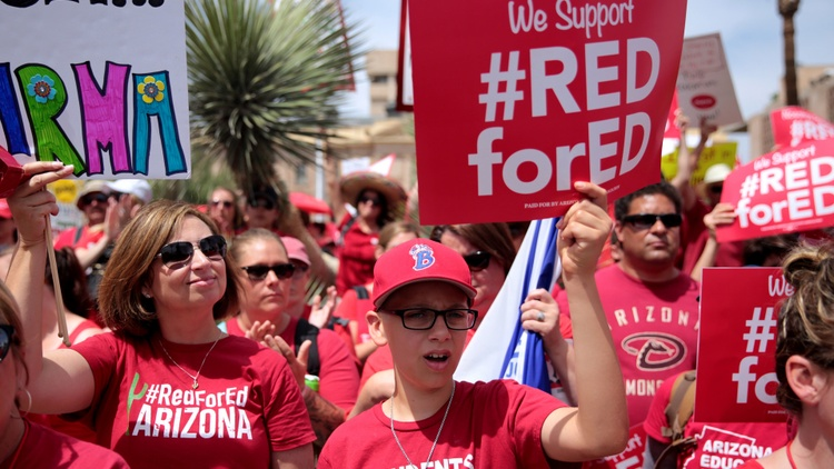 Teachers are mad as hell in several red states. They're walking out over cuts in pay and reductions in classroom support.