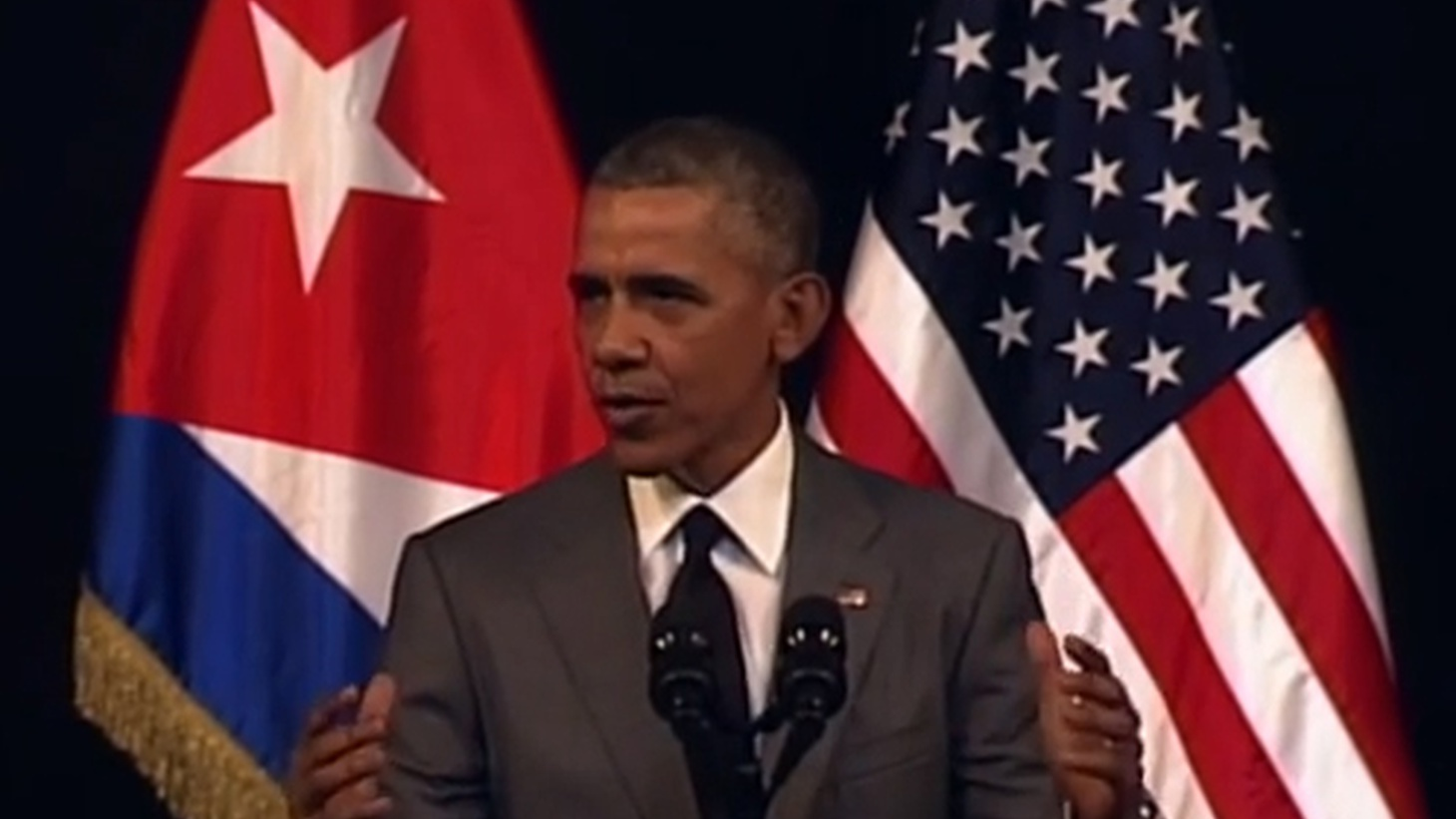 President Obama made a  historic speech  direct to the Cuban people today, peppered with Spanish phrases. He told them that the Castro regime has nothing to fear from the United States any more.