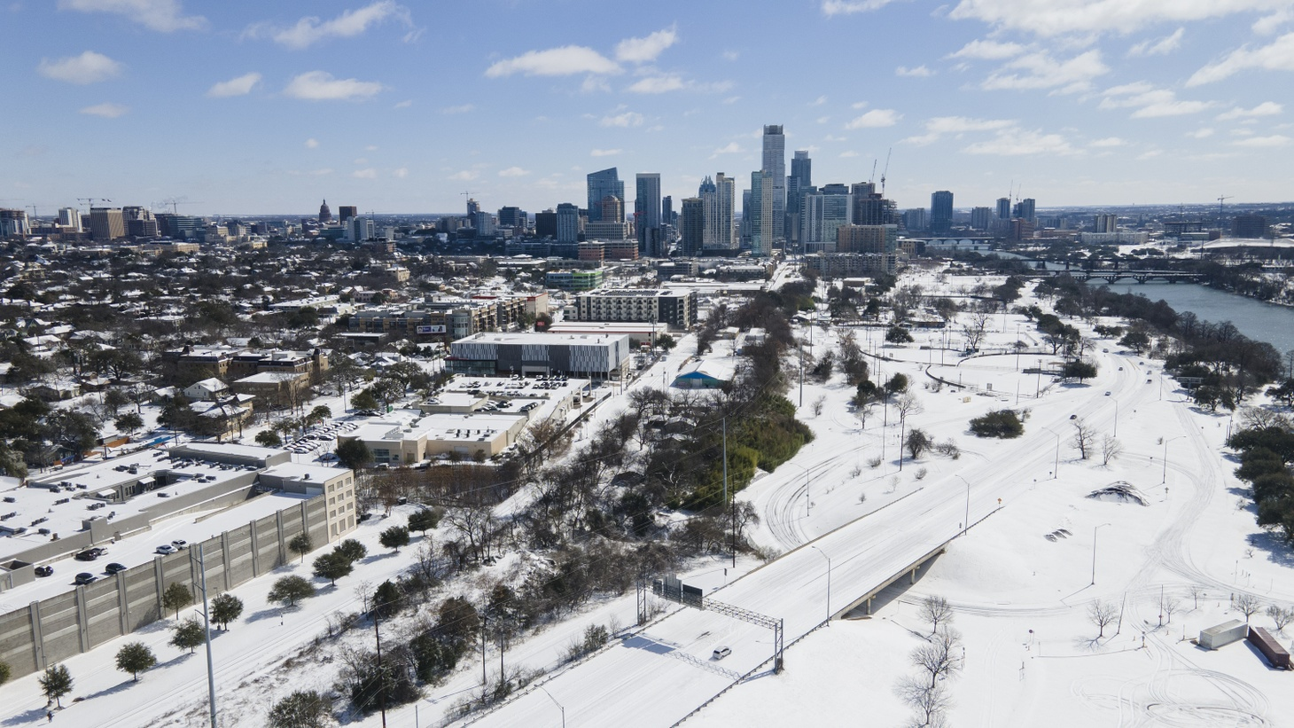 Downtown Austin, Texas, is covered in snow on Feb. 15, 2021.