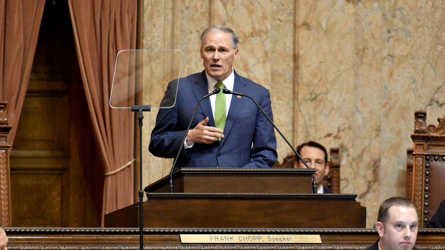 Gov. Jay Inslee delivered his 2019 State of the State address to a joint session of the Washington State Senate and House of Representatives. He implored legislators to write a historic new chapter in Washington's story that demonstrates bold purpose in acting on climate change, transforming the state's behavioral health system, protecting the embattled Southern Resident orca population, and continuing important investments in education.