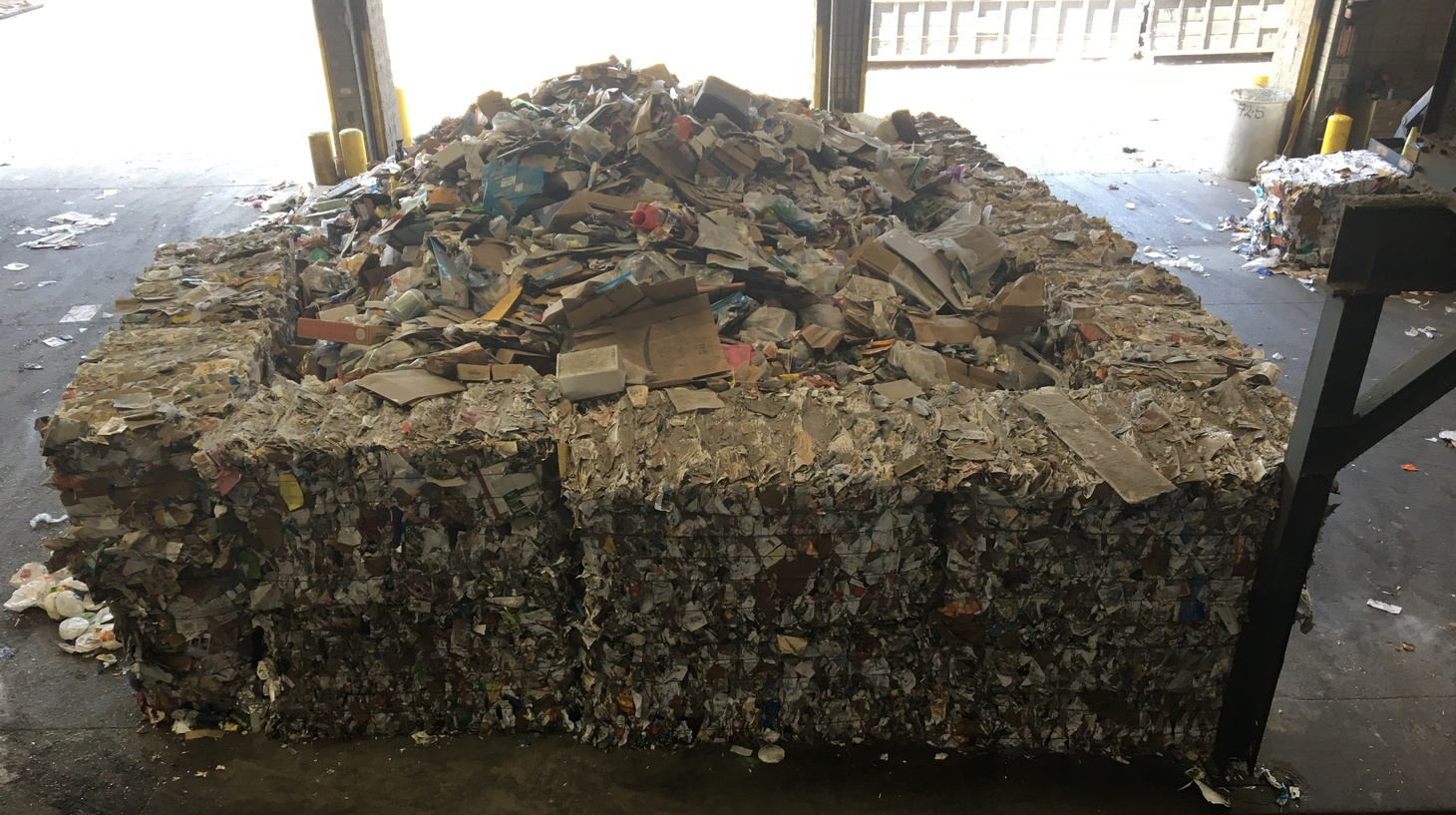 Piles of paper at the Recycling Center in Burbank.
