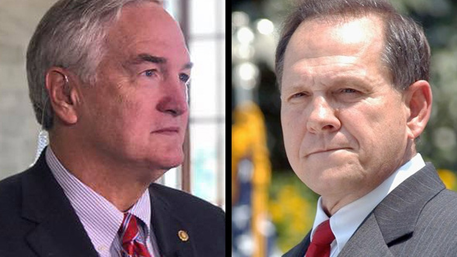 (L-R) Luther Strange and Roy Moore 