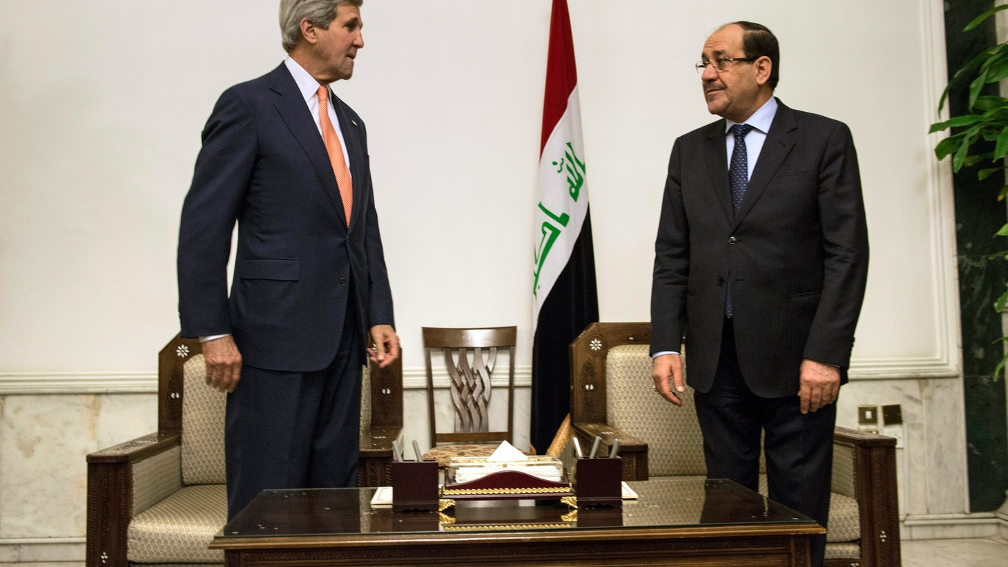 In Baghdad today, US Secretary of State of John Kerry met face to face with the embattled Iraqi Prime Minister who agreed to form a new more inclusive government starting next week.