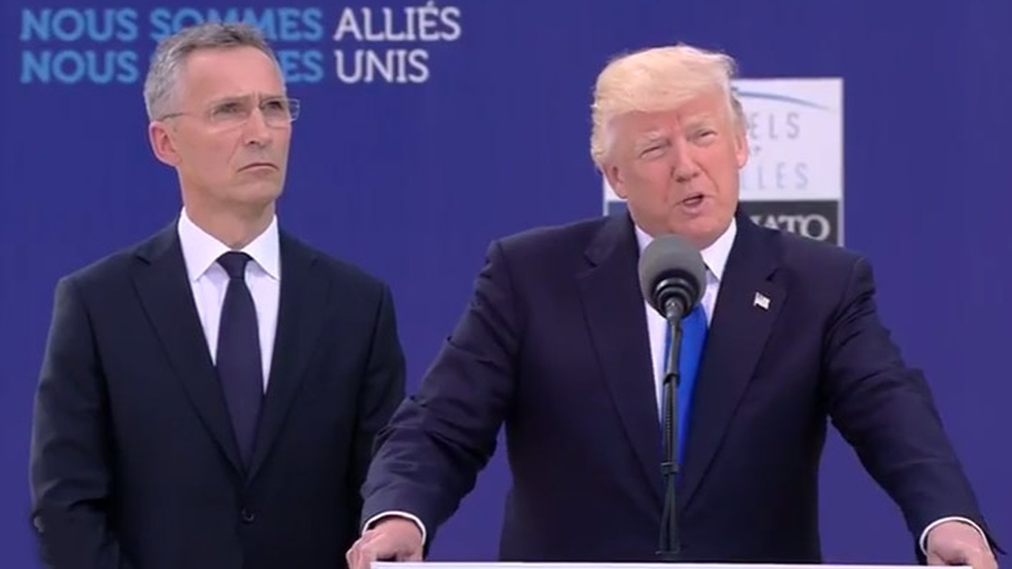 """At the opening of NATO's dramatic new headquarters in Brussels today, President Trump acknowledged that Article 5 — promising that """"an attack on one nation is an attack on all"""" -- has only been invoked one time: in the aftermath of September 11. But the President failed to provide what 27 other Alliance members have been waiting for: a re-commitment by America's new leader to Article 5. Instead, they got a scolding."""