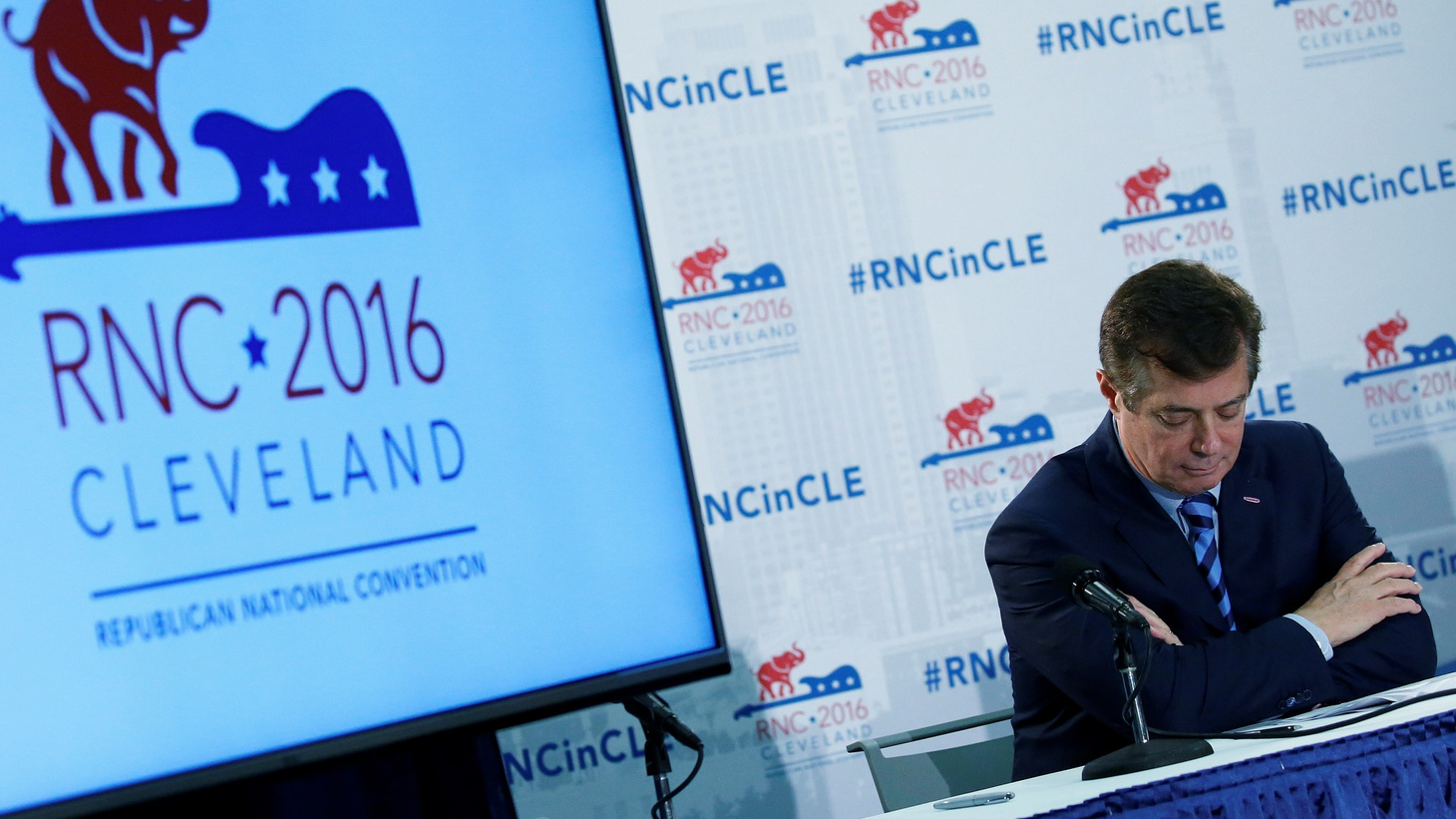 Presidential candidate Donald Trump's campaign chair and convention manager Paul Manafort appears at a press conference at the Republican Convention in Cleveland, July 19, 2016.