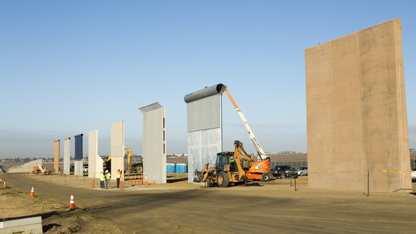 Ground views of different Border Wall Prototypes as they take shape during the Wall Prototype Construction Project near the Otay Mesa Port of Entry.