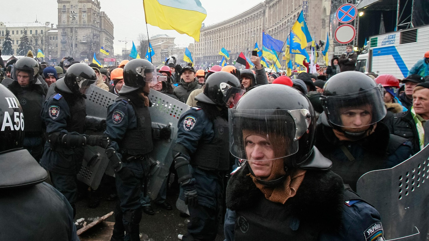 Police in Ukraine used force against peaceful protesters today in what's becoming that country's worst crisis since the Orange Revolution of 2004.