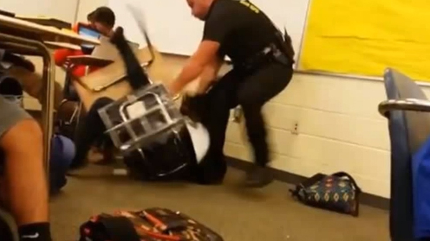 Video of a white cop abusing a black school girl went viral this week, causing widespread outrage. Uniformed officers with deadly weapons are now part of daily life on thousands of public school campuses. They're supposed to provide security, but they're often called on for disciplinary action. We hear about the consequences — especially for children of color.