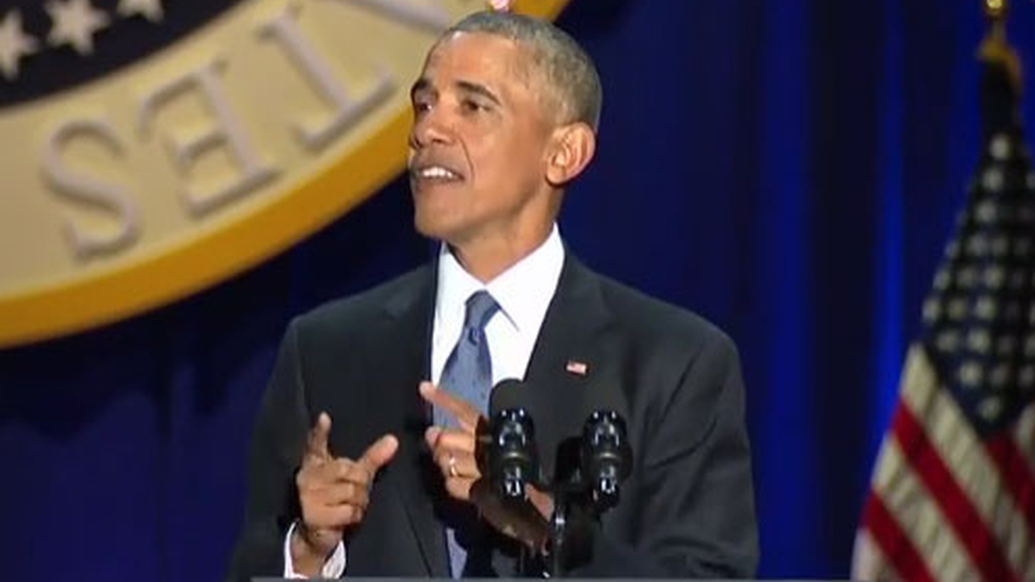 President Obama addressed  an adoring crowd last night in Chicago, where he began his public career as a community organizer. He touted his accomplishments after eight years in the White House. He also spoke to the likely disappointment of his supporters in his elected successor.