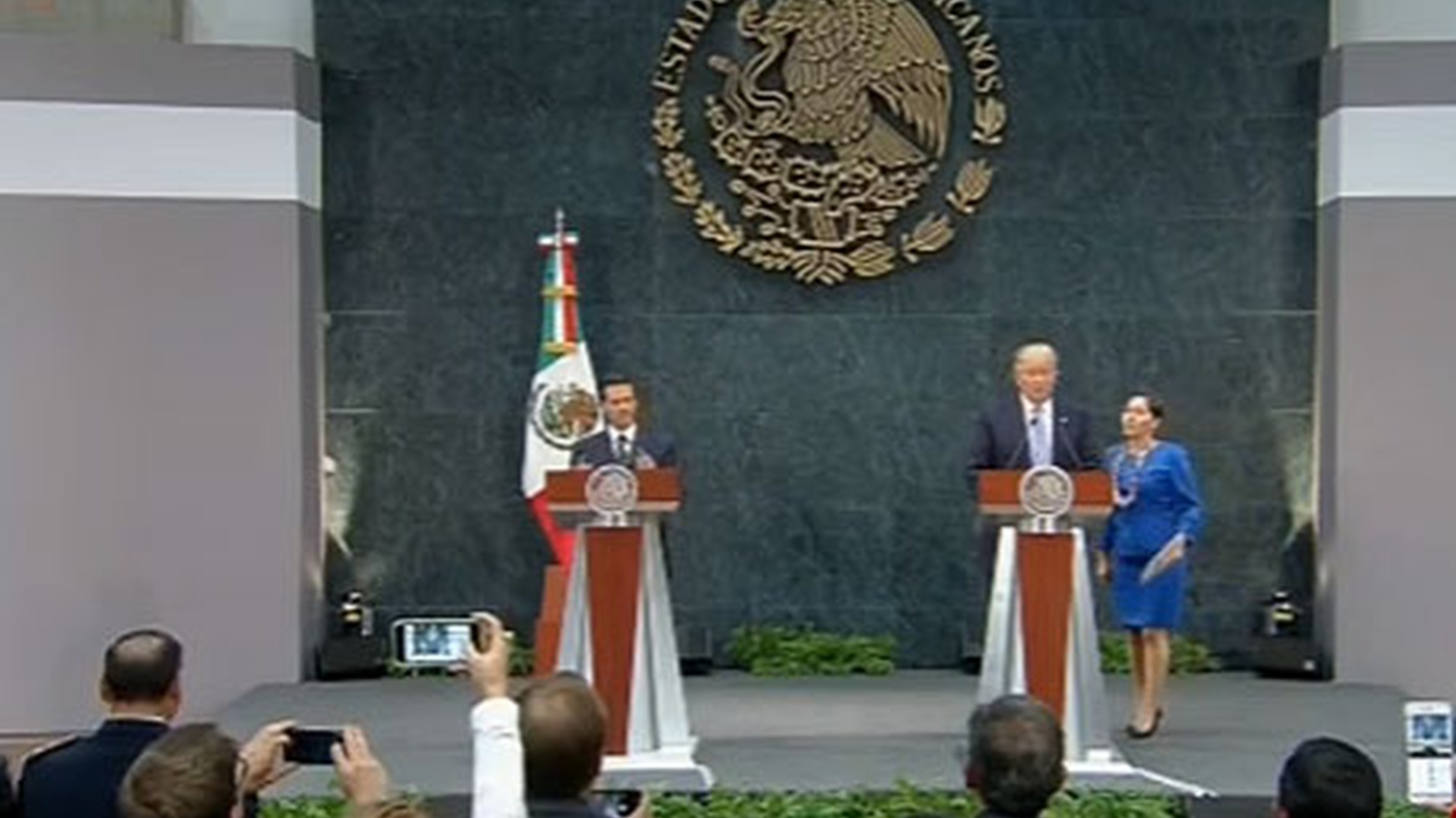 """Donald Trump performed a political pivot yesterday afternoon in Mexico — away from the familiar populist rhetoric of his campaign. After meeting with President Enrique Peña Nieto, he sounded more like a diplomat. """"I was straight forward in presenting my views on the impacts of current trade and immigration policies on the United States."""""""