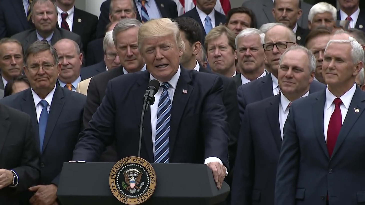 President Trump speaking with a number of key Republicans at the Rose Garden of the White House