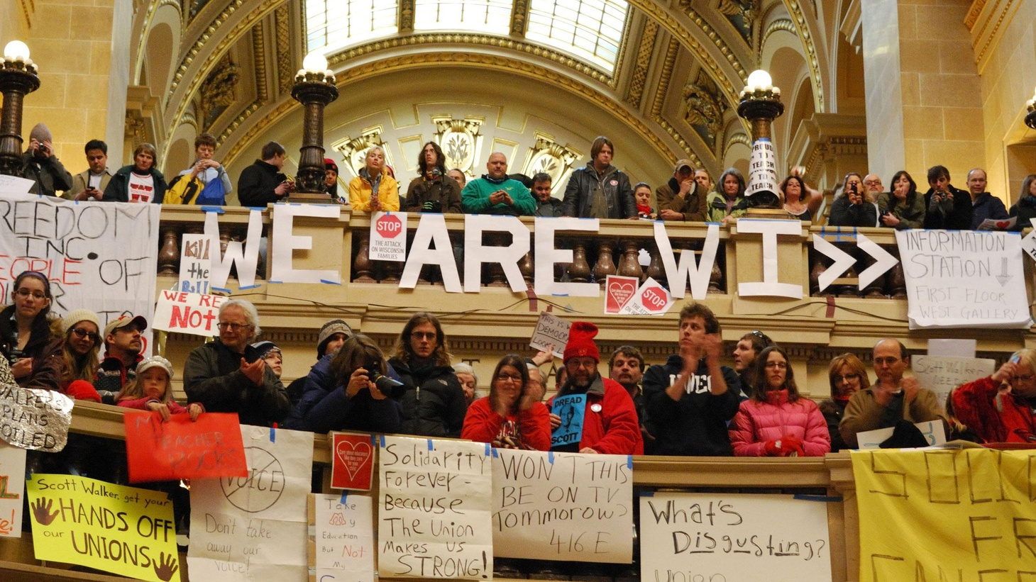 In Wisconsin, the dispute continues between a new Republican Governor and public workers. Will it spread to other states? Is it part of a national campaign to prevent government employees from forming unions? Also, Libya's government opens fire on civilians. On Reporter's Notebook, once deposed by his people, where can a dictator go?