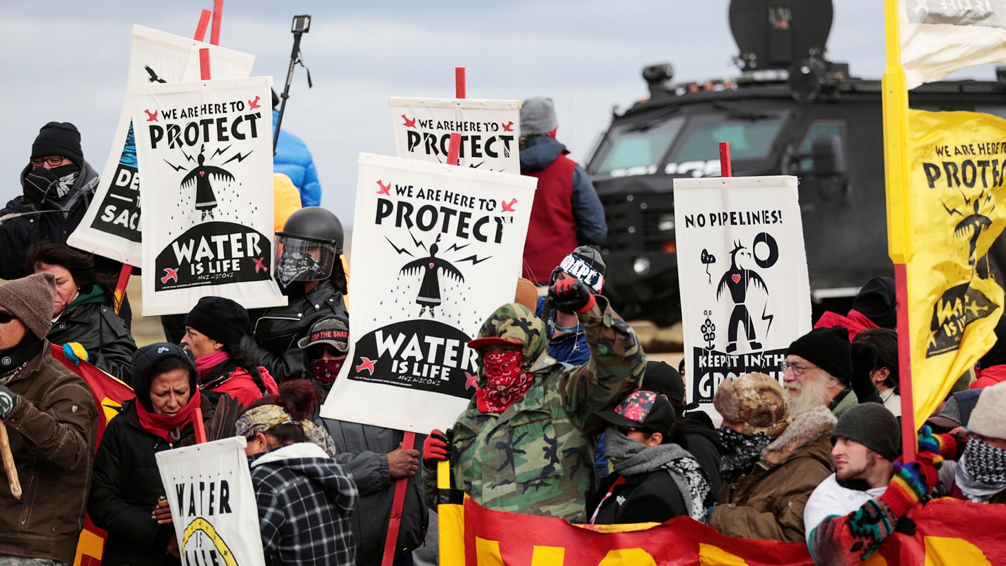 Native Americans and supporters from around the world are digging in against an  oil pipeline  near the Missouri River — despite being struck with batons, sprayed with Mace and charged with crimes. After the protesters lost a battle in court, the Obama Administration asked Energy Transfer, a Fortune 500 Company, to defer construction.