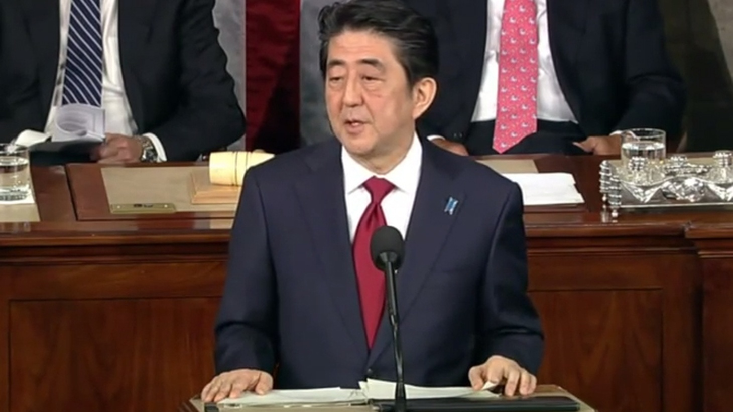 As the first Japanese Prime Minister to address a joint meeting of Congress today, Shinzo Abe offered condolences for Americans killed in World War II—but not for wartime atrocities in Korea, China and elsewhere. He was applauded in Washington, but he'll get a mixed reception when he comes to California tomorrow. Americans of Asian descent are already protesting.