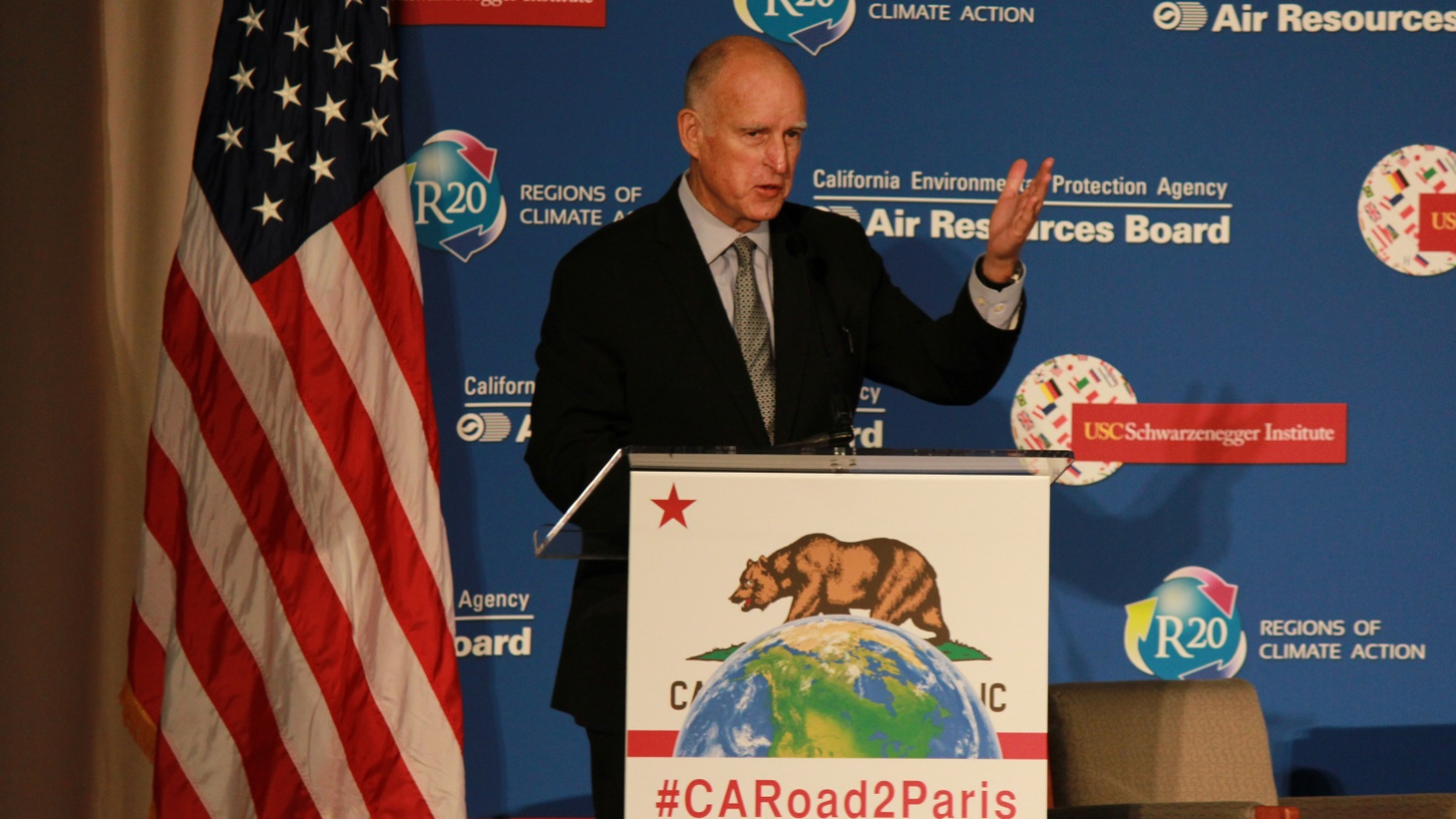 The Governor of California oversees the world's eighth largest economy, so it makes sense for him to join more than 100 heads of state at the Climate Change Summit.