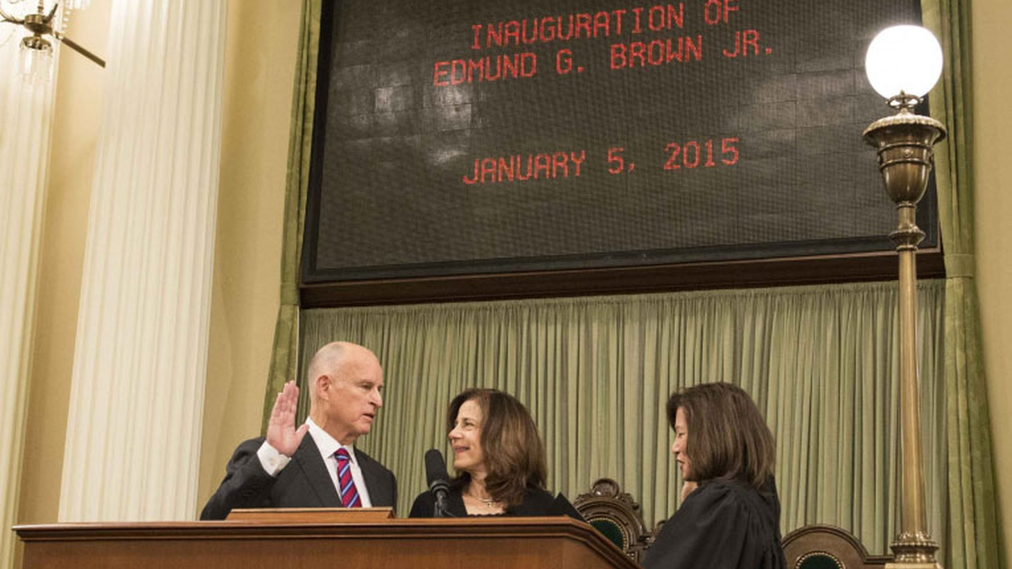 Beginning his fourth term as California's Governor today, Jerry Brown touched on familiar issues — also making a big new commitment to renewable energy. His extended family crowded the balcony of the Assembly Chamber as he recalled seeing his father sworn in to the same office 56 years ago to the day. But Brown's positions on potential controversies remain to be clarified.