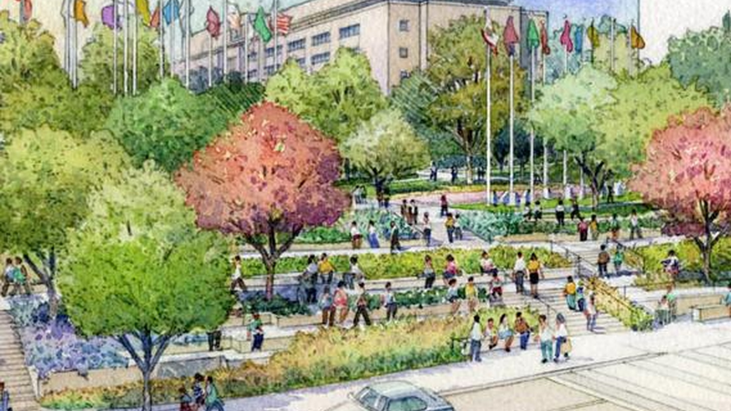 A public park built mostly with private money will open in LA tomorrow.  It stretches from the County Courthouse and Hall of Administration on Grand Avenue all the way down the hill to the LA City Hall.  It's designed for a range of uses from family barbeques to musical concerts.  But will it become a destination for the rest of Los Angeles? Also, a rebroadcast of To The Point on Penn State and the culture of college football.