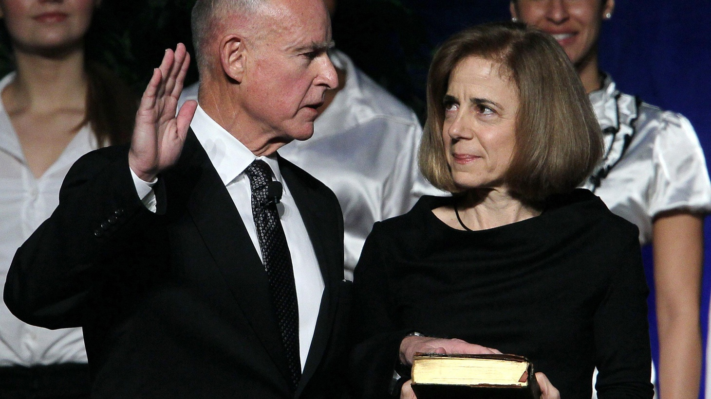 """Jerry Brown completed his second term as Governor 28 years ago. Today he was sworn in again. In his inaugural address he condemned state politics for degenerating into """"mere spectacle"""" and called for """"courage and sacrifice."""" We hear excerpts from the address and hear what might come next. Also, Interstate 5 and the weather. On our rebroadcast of To the Point, the promise and reality of President Obama's economic stimulus package."""