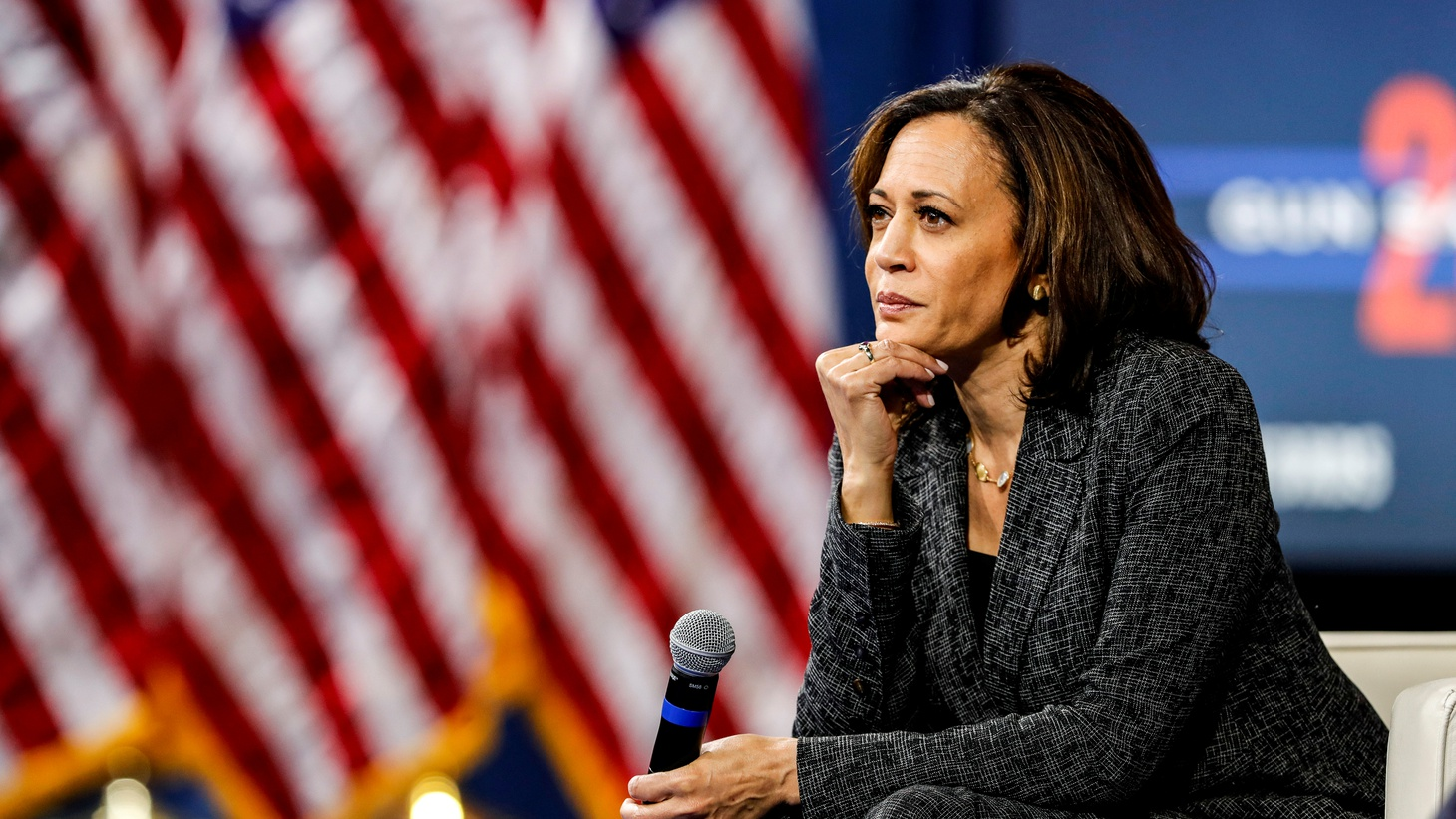 U.S. Democratic presidential candidate Sen. Kamala Harris (D-CA) listens to a question from the audience during a forum in Las Vegas, Nevada, U.S. October 2, 2019.