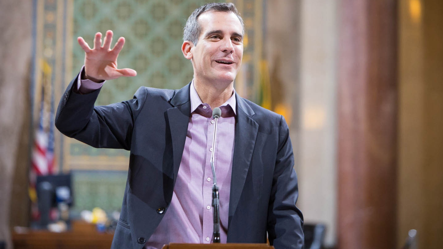 Mayor Eric Garcetti wants to raise the minimum wage in Los Angeles to $13.25 an hour. We'll ask him about small business predictions about lost jobs. Also: Does LA need a Housing Czar? Does Garcetti really like being Mayor of a city that can't pave its streets or fix its broken sidewalks?