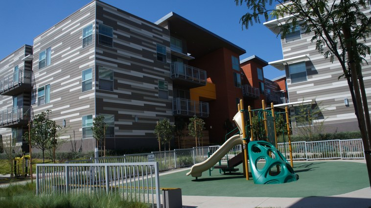 Sage Park is a LAUSD housing complex that opened last year in Gardena. In cooperation with development partners, the school district's goal was to create affordable housing that looked inviting and stylish for its employees.