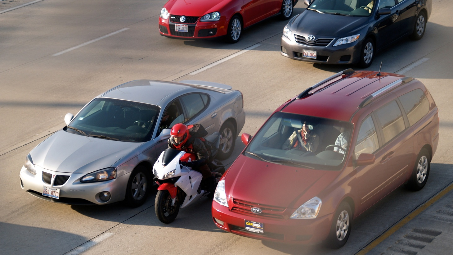 """When a motorcycle roars up between you and another car, it's called """"lane splitting."""" In California, it's not yet mentioned in the vehicle code, but this is close to becoming the first state to make it legal. We hear that drivers and bikers have different ideas about what should be allowed — and what should be prohibited."""