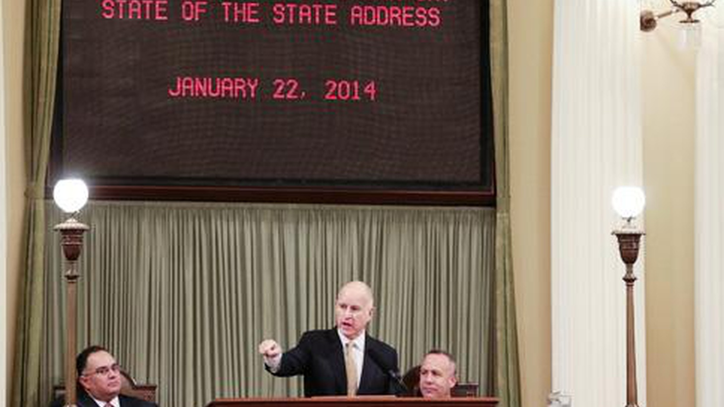Today in Sacramento, Jerry Brown delivered his annual State of the State speech. We hear what he said, what he didn't say, and what his dog, Sutter, had to do with it.