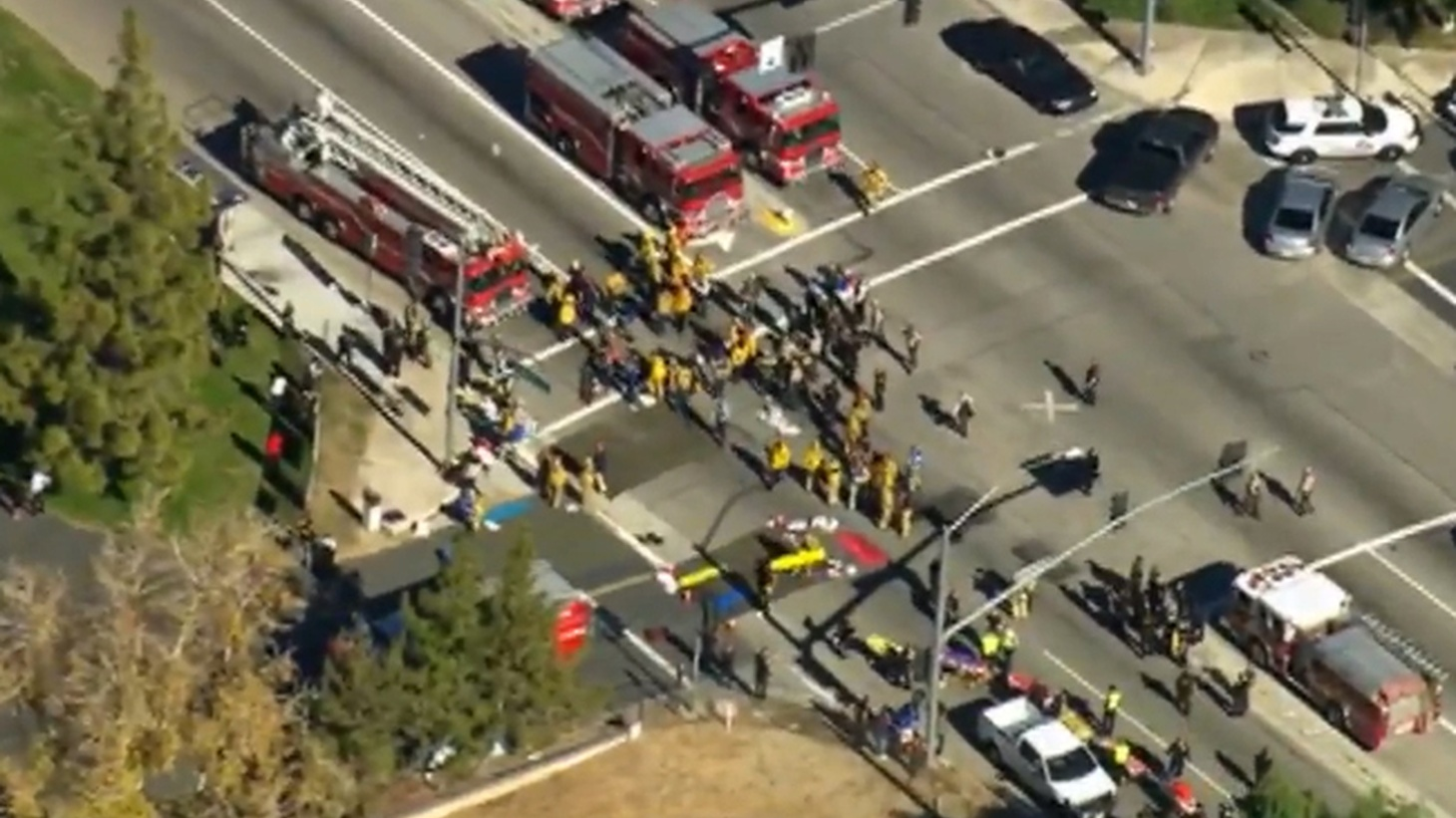 Fourteen people were shot to death this morning and 17 others were injured at a holiday party for state health workers at the Inland Regional Center in San Bernardino. Three shooters escaped in a black SUV.