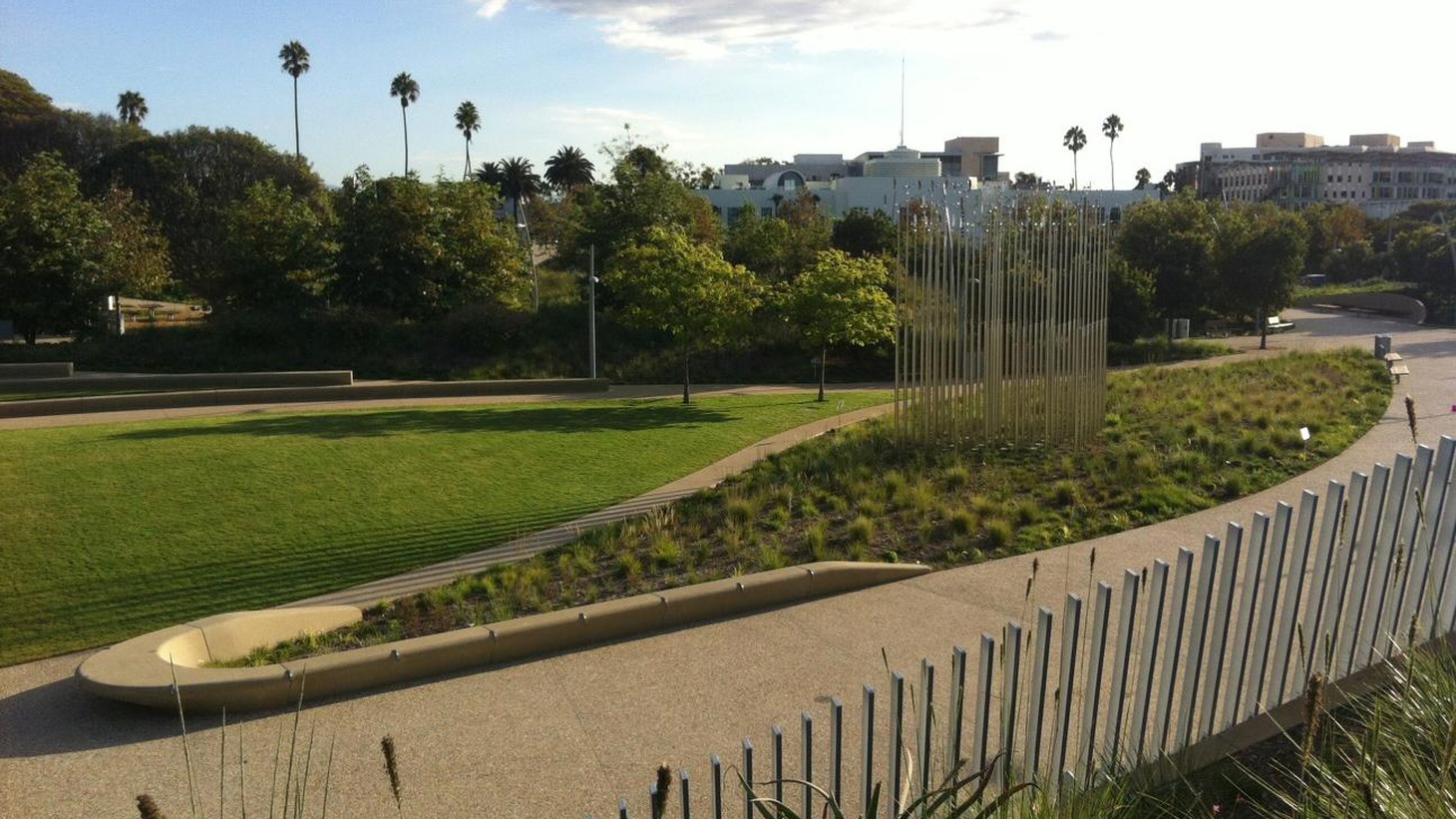 """Santa Monica is notoriously cautious about so-called """"smart growth,"""" but a new park and upscale condo complex are finally bringing energy to the Civic Center."""