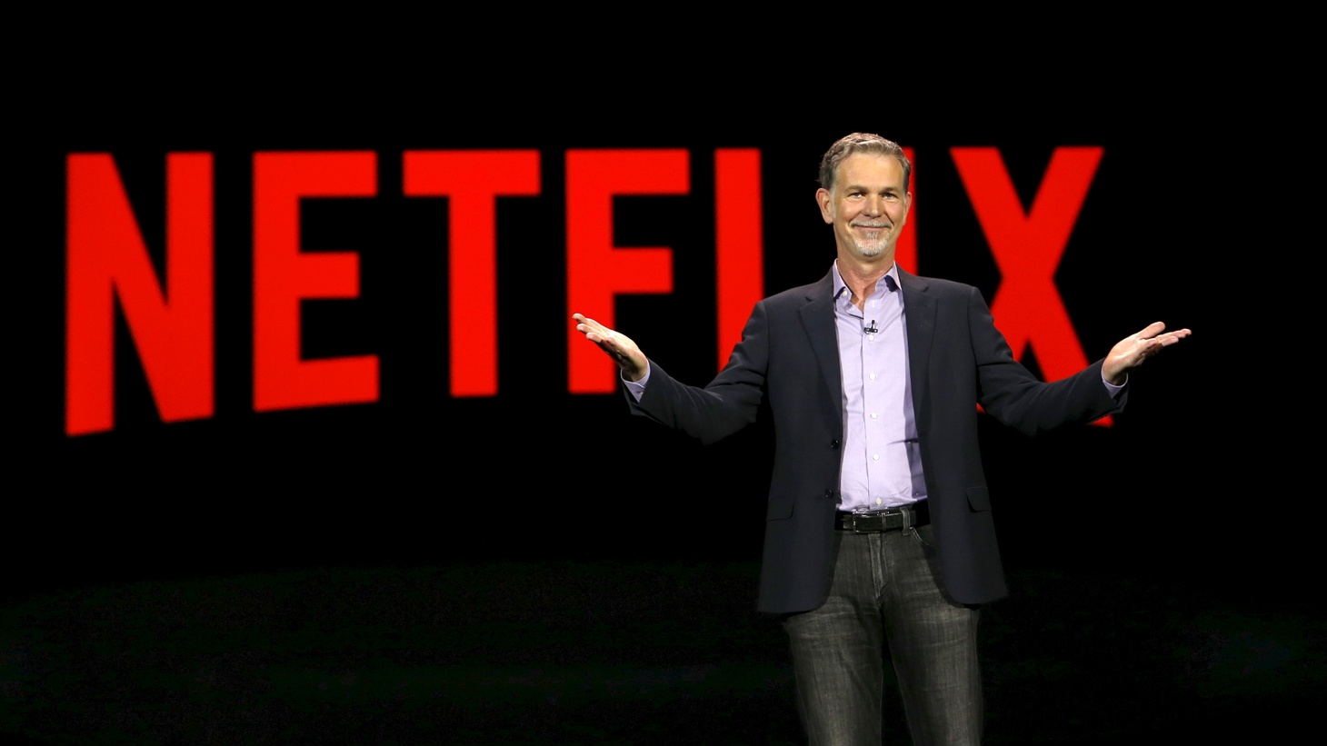 Reed Hastings, co-founder and CEO of Netflix, delivers a keynote address at the 2016 CES trade show in Las Vegas, Nevada, January 6, 2016.