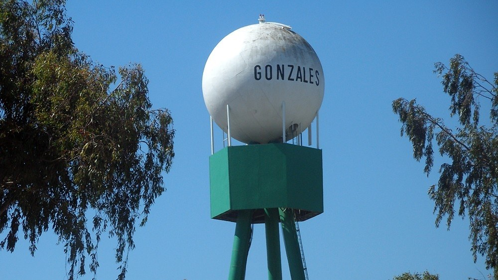 The water tower serving the city of Gonzales.